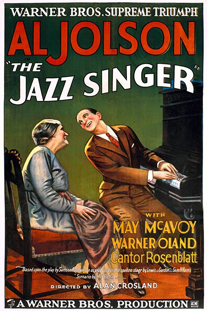 An advertising  poster for The Jazz Singer distributed by Warner Brothers