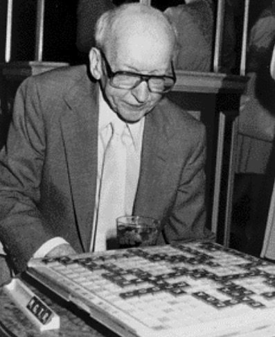 Alfred Butts settles down to a game of Scrabble
