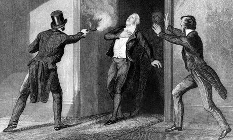 An artist's impression of Spencer Perceval's fatal shooting. Photograph: Hulton Archive