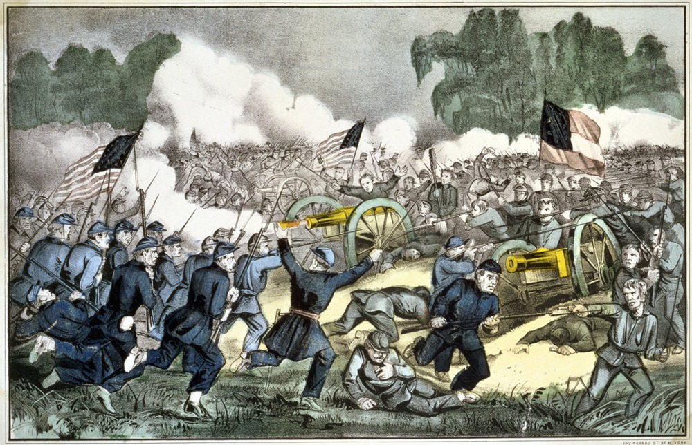 A lithograph of the Battle of Gettysburg. Library of Congress/Getty Images