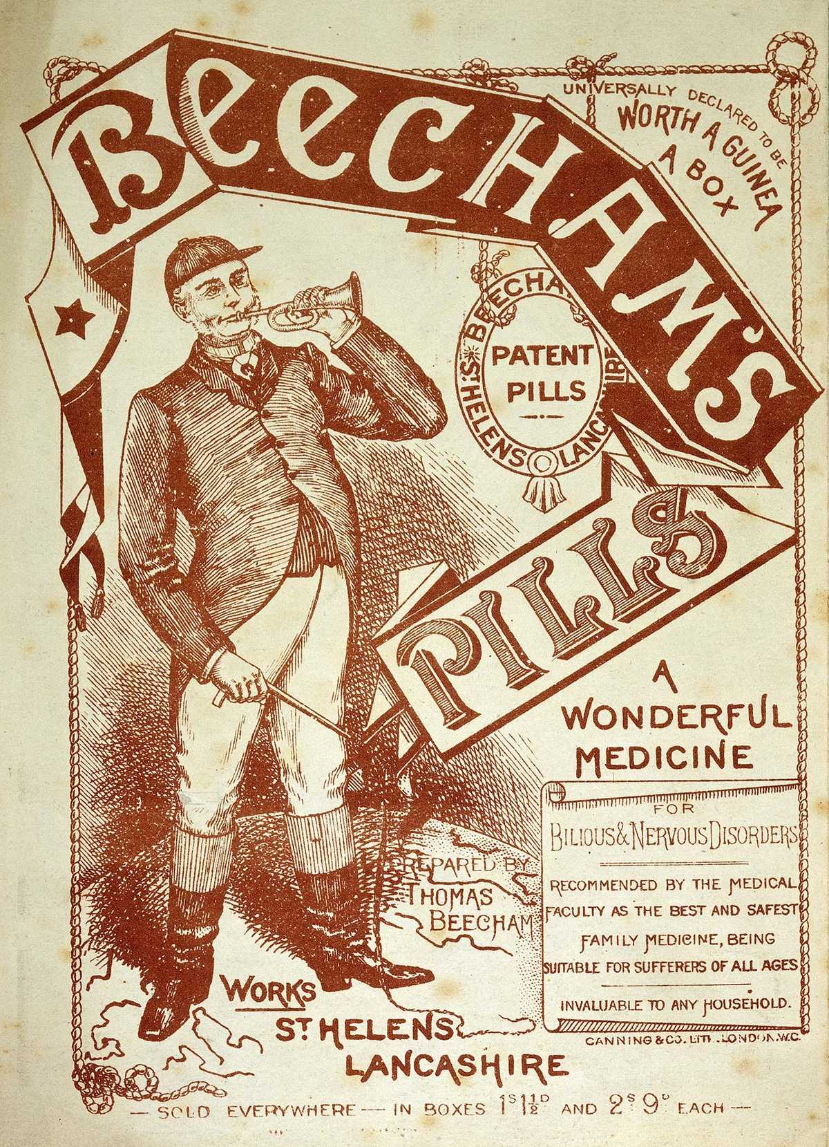"The original ""Worth a Guinea a Box"" advert for Beecham's Pills. © Wellcome Images"