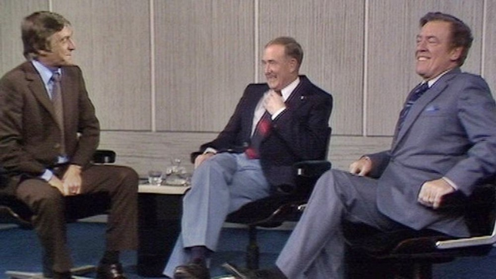 All is forgiven: In 1981, Blanchflower (centre) appeared with Andrews on Michael Parkinson's chat show