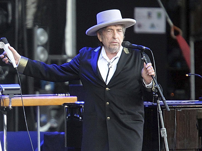 Bob Dylan performing in 2012. He said he was surprised to be listed alongside Ernest Hemingway and Albert Camus