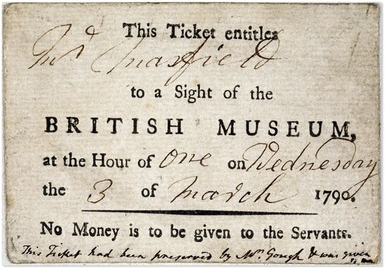 British Museum ticket from 1790