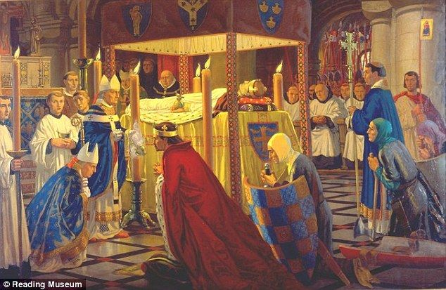 Burial of Henry I at Reading Abbey painted by Harry Morley. Photo: Reading Museum