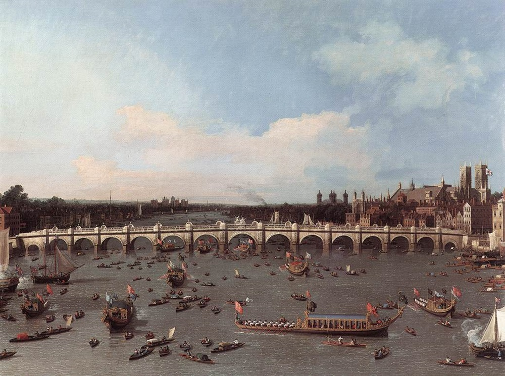 The original Westminster Bridge crossed by Wordsworth and as painted by Canaletto