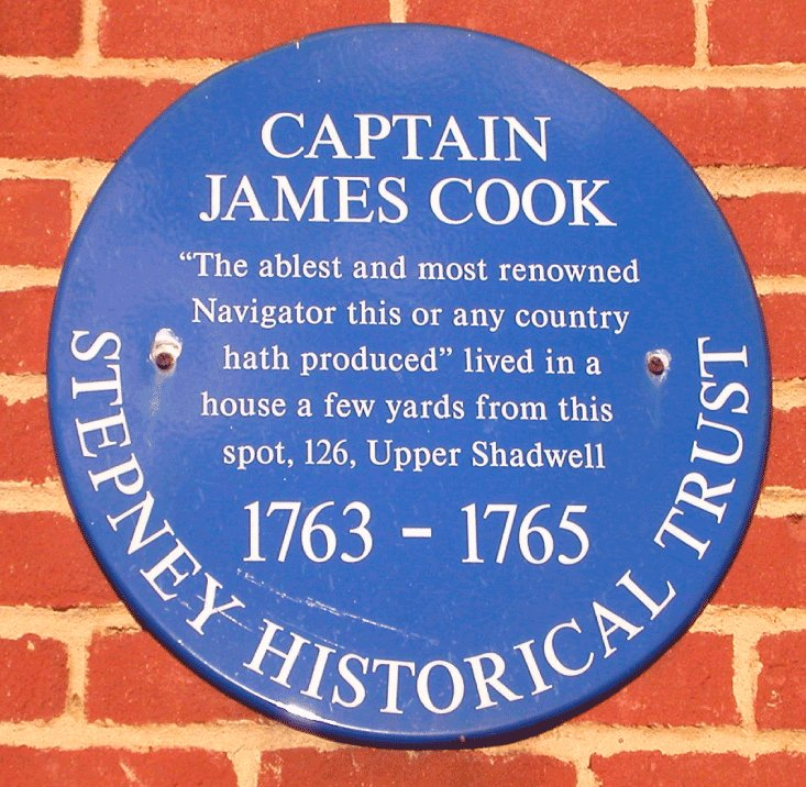 A plaque in East London showing where Captain Cook lived