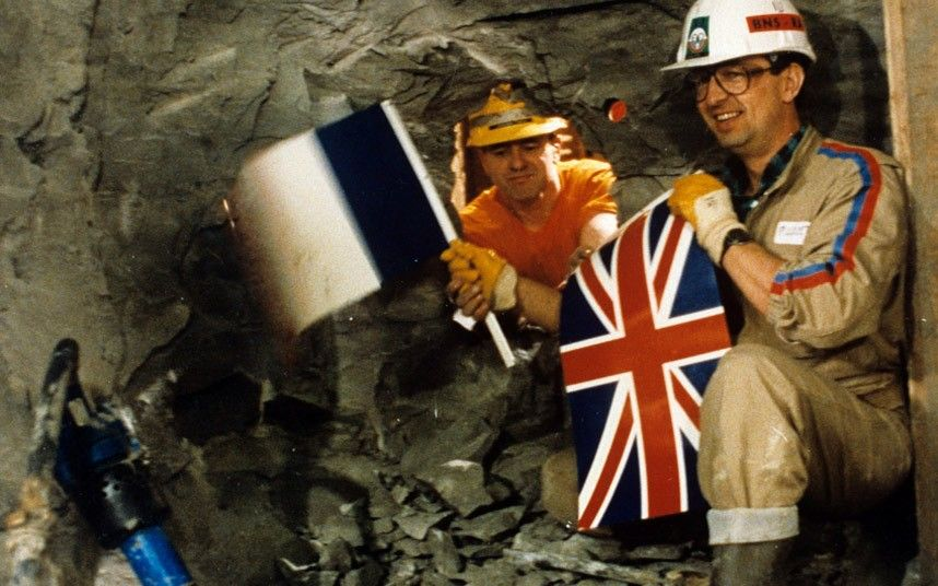 Tunnel diggers from France and England meet half way. Photo: Rex Features