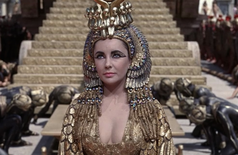 Elizabeth Taylor as Cleopatra in the 1963 movie. Its costs nearly bankrupted Twentieth Century Fox