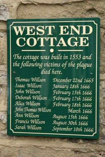 One of several commemorative plaques to the victims in today's Eyam