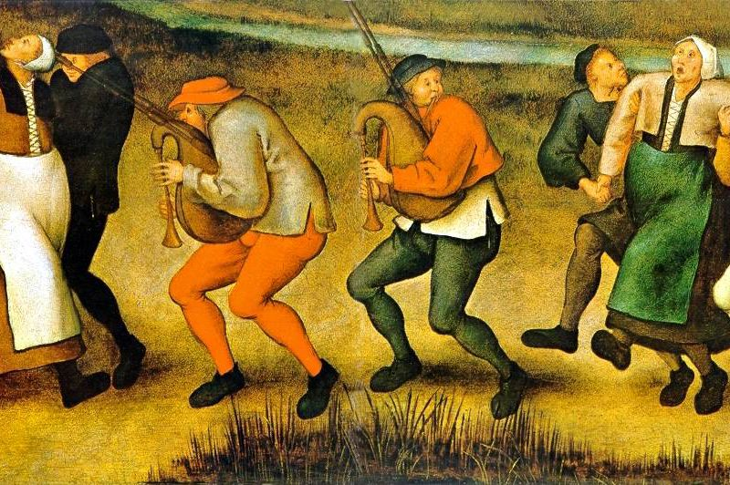 A depiction of dancing mania, on the pilgrimage of epileptics to the church at Molenbeek. A painting by Pieter Brueghel the Younger.