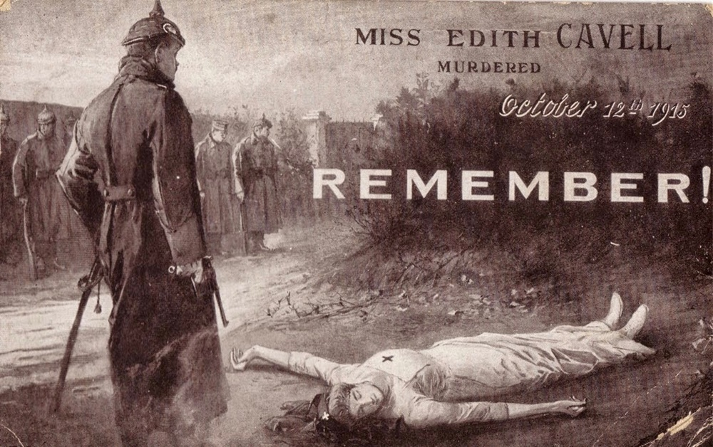 A widely circulated propaganda image of Edith Cavell's execution, supposedly finished off by a German officer