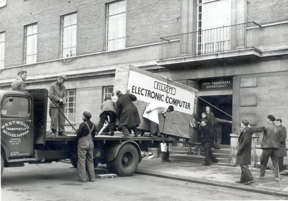 Long haul: the Elliott computer arrives at the Town Hall. Photo: Norfolk Record Office