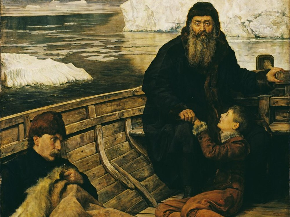 Artist John Collier's painting of Hudson cast adrift with his son