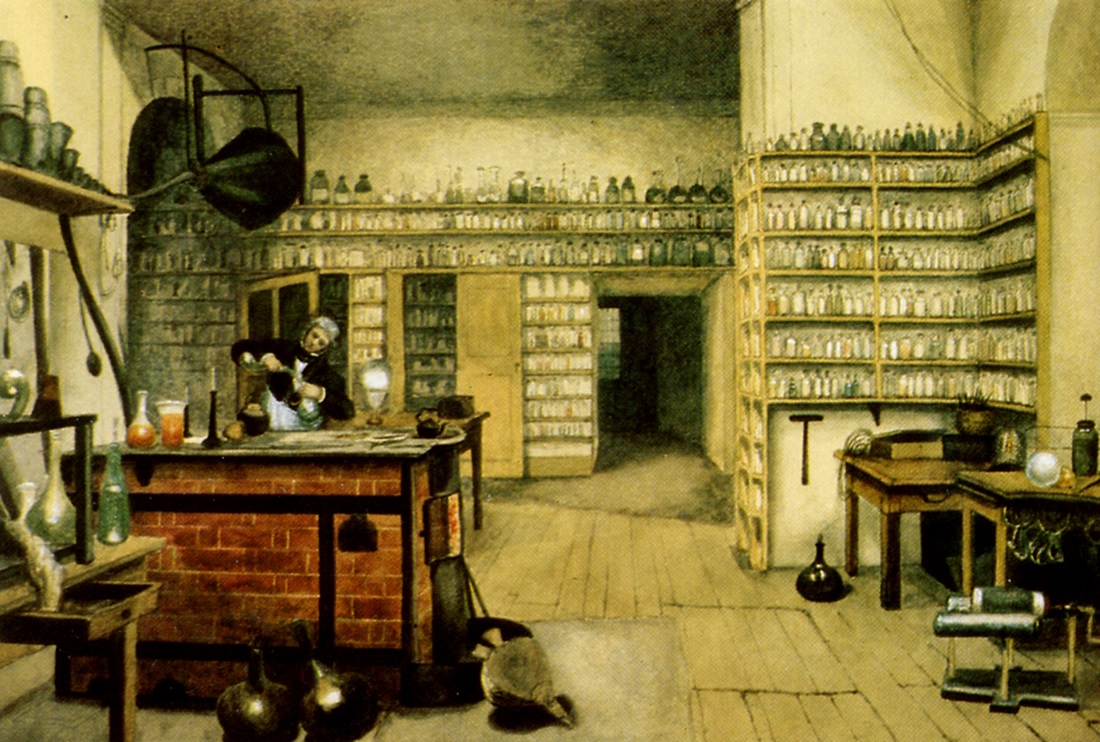 Michael Faraday working in his converted kitchen laboratory in the 1850s. Painting by artist Harriet Moore.