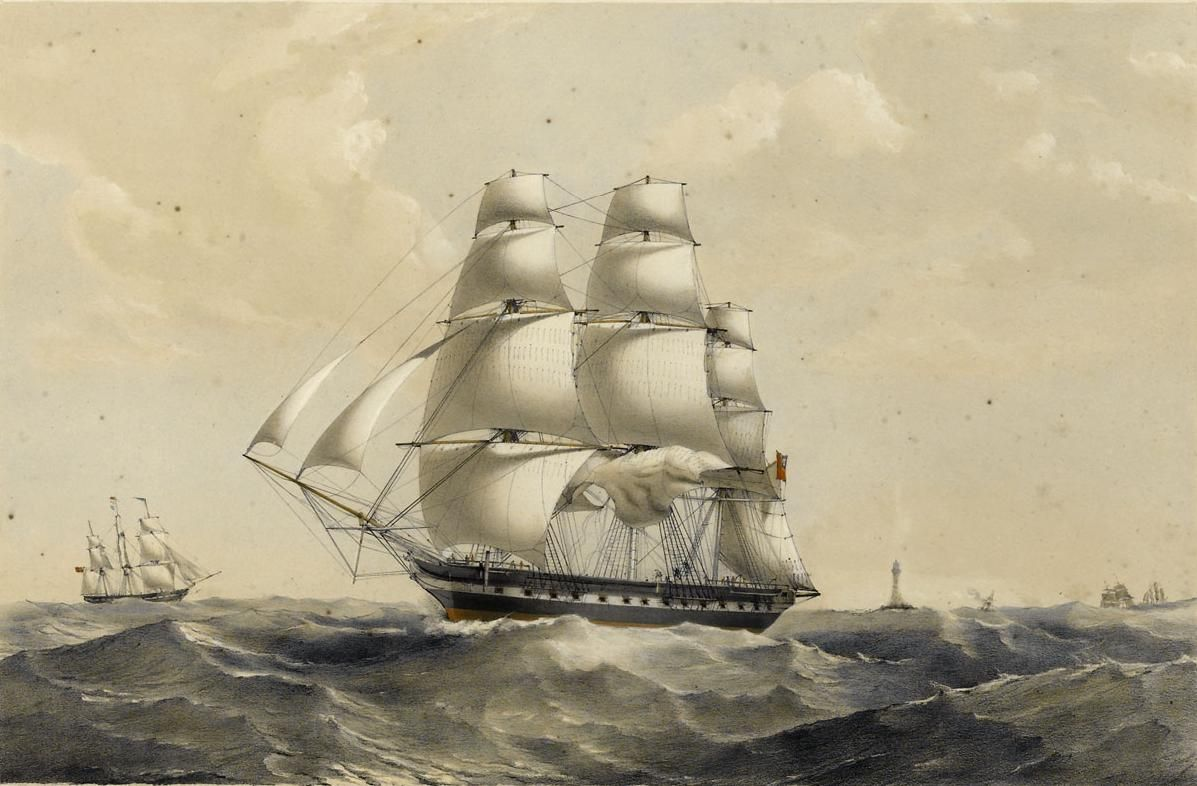 The Madagascar as painted by Thomas Goldsworth Dutton. National Maritime Museum, Greenwich, London