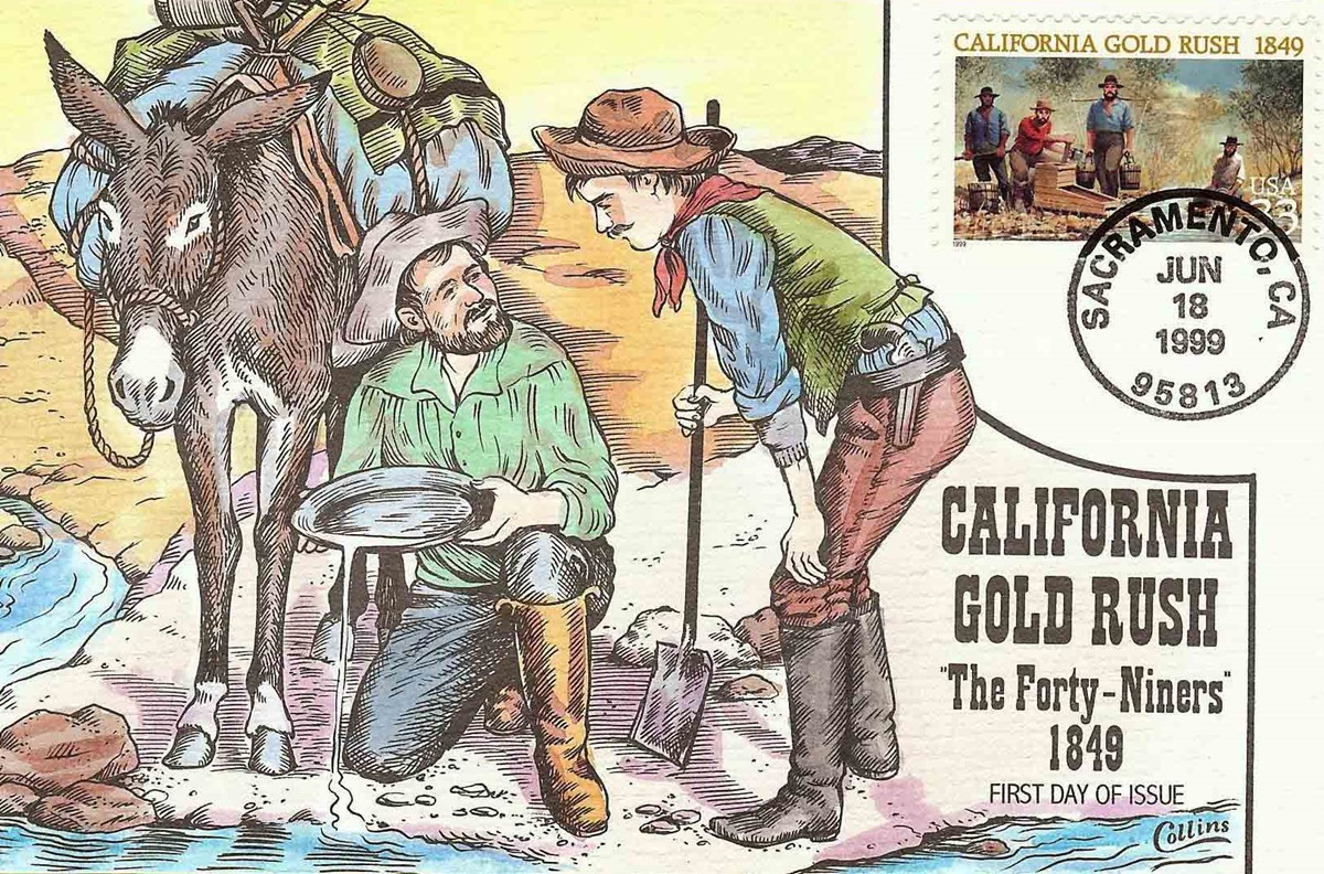 A special stamp was issued in 1999, marking 150 years since the California Gold Rush