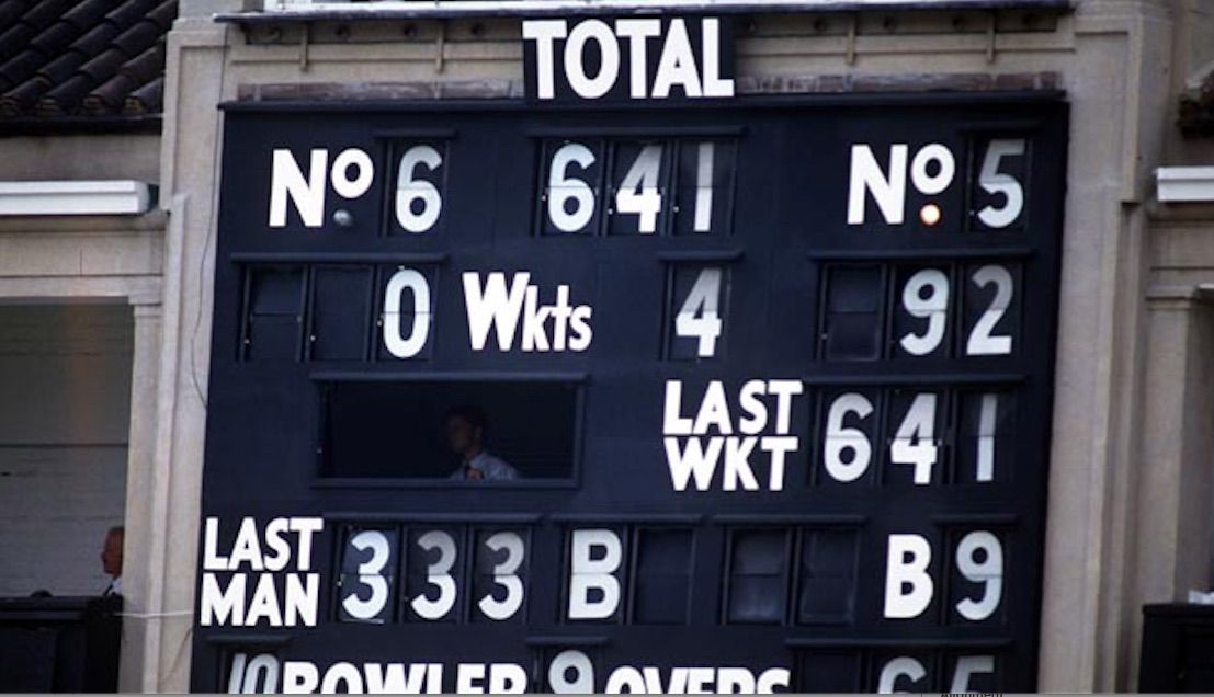 Sign of a record: the scoreboard at Lord's after Gooch was bowled out for 333. Photo: Getty Images