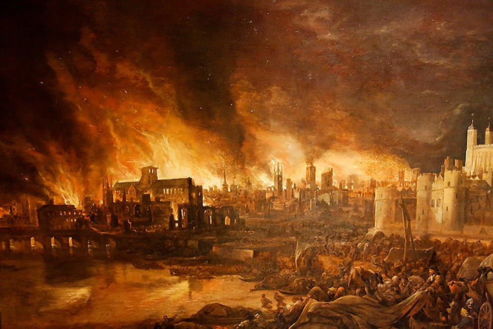 The Tower of London to the right, London Bridge to the left – how an artist painted the Great Fire