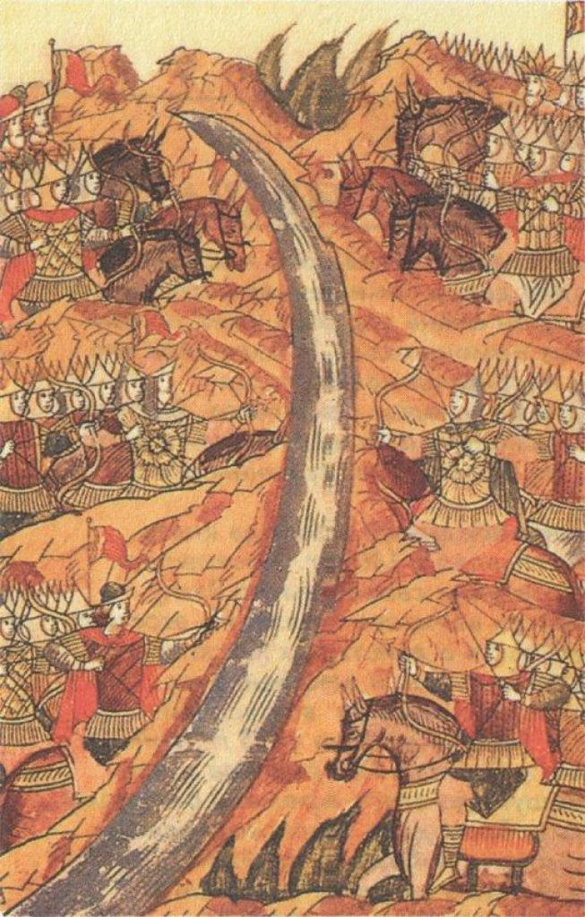 Standing on the Ugra river, 1480. Miniature in Russian chronicle. XVI century.