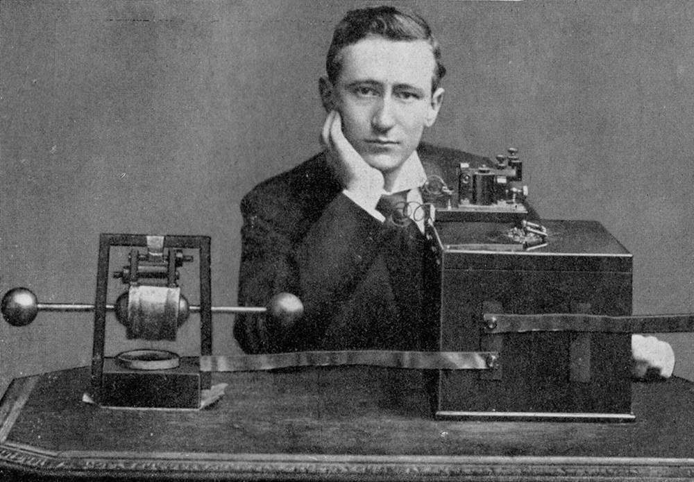 Marconi with his telegraphic box of tricks