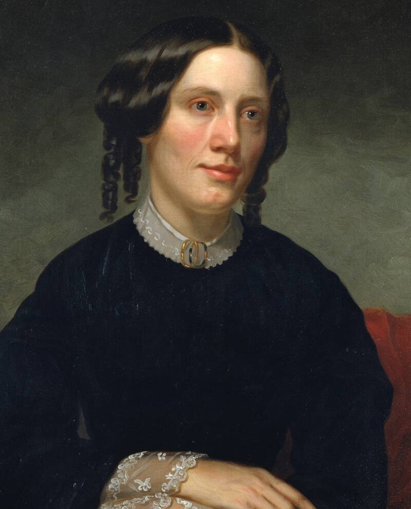 Harriet Beecher Stowe as painted in 1853 by Alanson Fisher. Smithsonian's National Portrait Gallery
