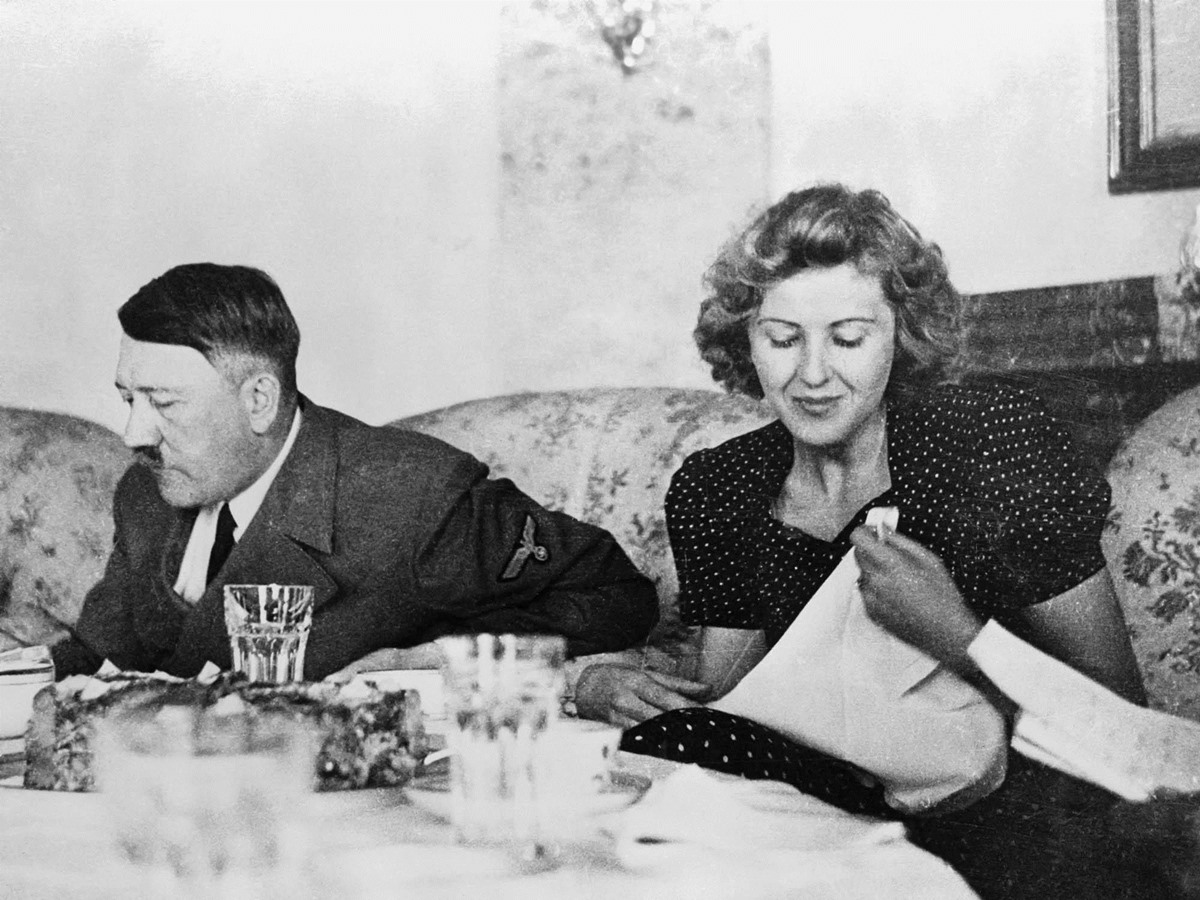 Hitler and Eva Braun dining together in the early 1940s
