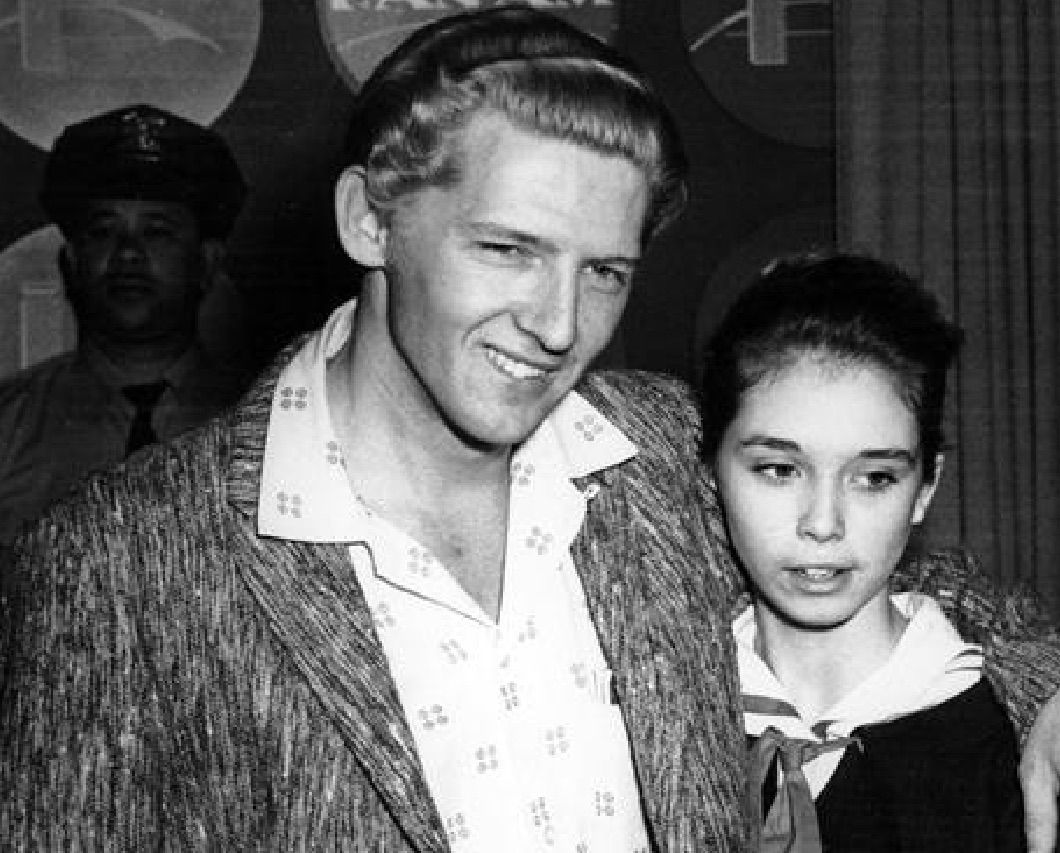 Jerry Lee Lewis pictured in 1957 with Myra, his 13-year-old 'bride'
