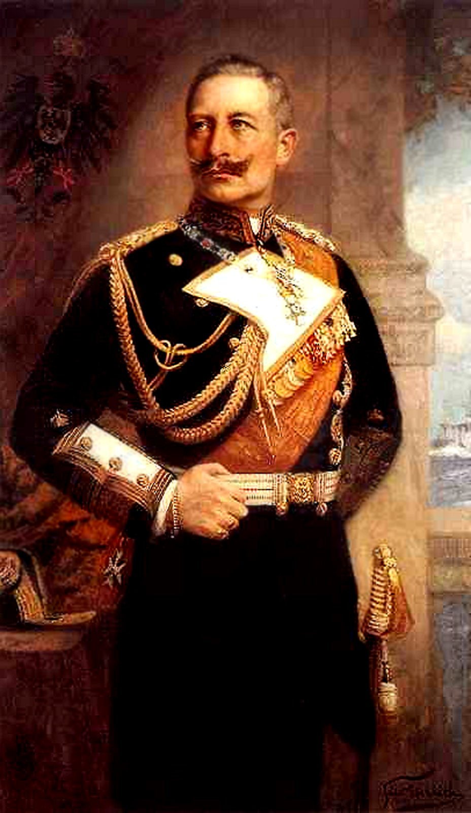 A typical portrait of the Kaiser, with his left arm carefully concealed