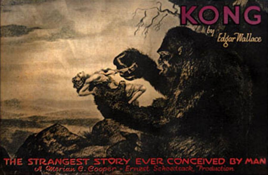 "An early cinema poster for Edgar Wallace's story, originally just called ""Kong."""