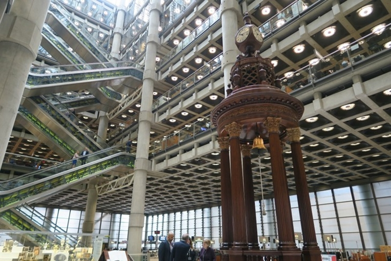 The Lutine bell installed in the underwriting room at Lloyd's super-modern building in London
