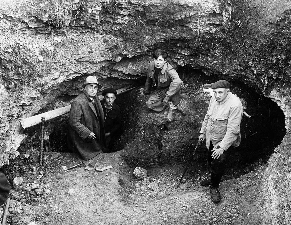 Marcel Ravidat, second from left in beret, with his friends at the cave entrance in 1940