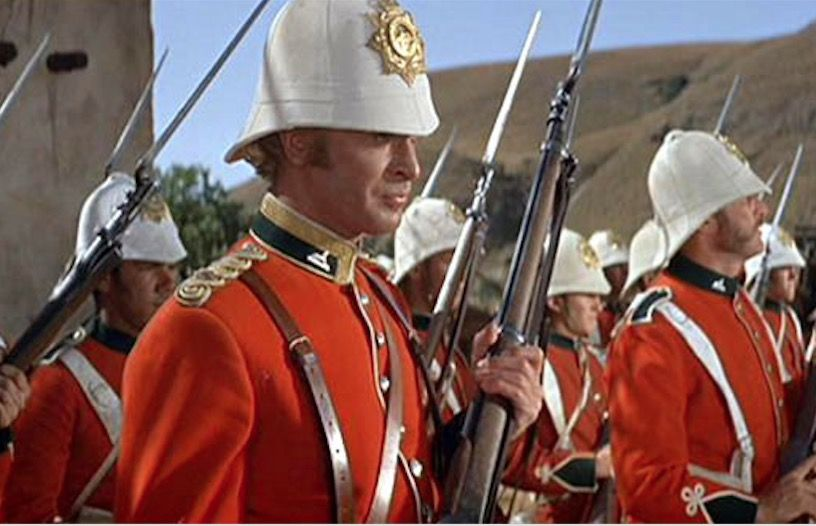 Young officer Michael Caine awaits the attack of Zulu warriors in the 1964 movie