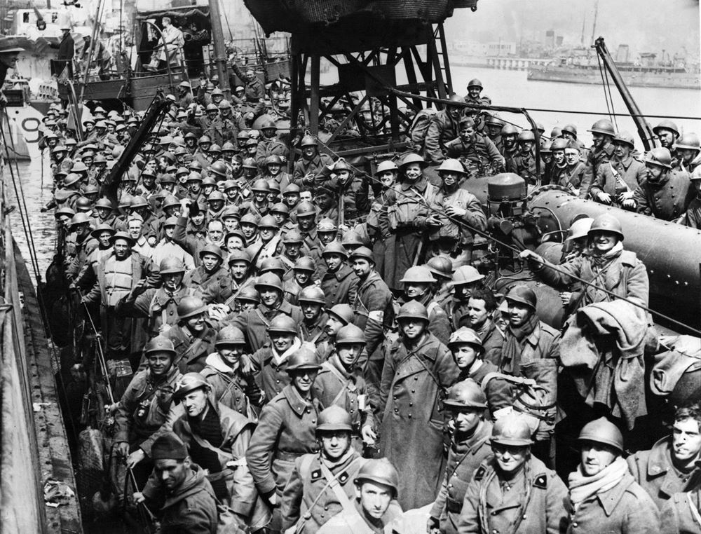 A boat packed with Allied troops rescued from the beaches of Dunkirk