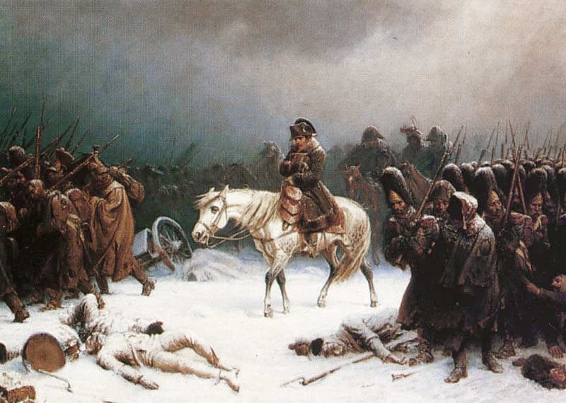 Death and despair as Napoléon and his Grand Army retreat from Russia. Artist: Adolf Northen