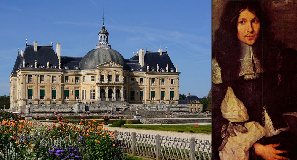 Nicolas Fouquet, looking unsure of himself, alongside the splendid château that he had built for his own use – much to his King's displeasure