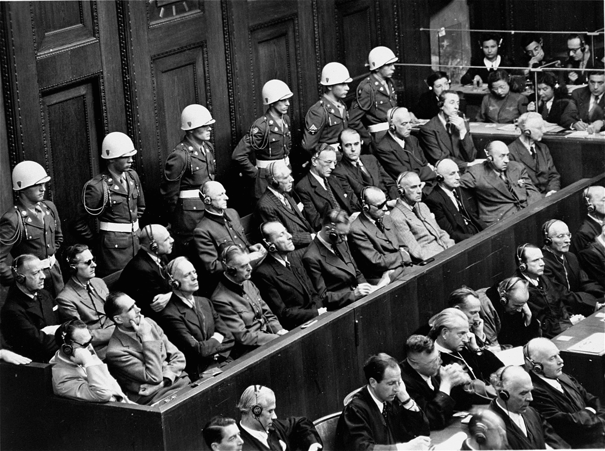 Hermann Göring, far left, front row, sits in the dock next to Rudolf Hess and other leading Nazis at the Nuremberg tribunal