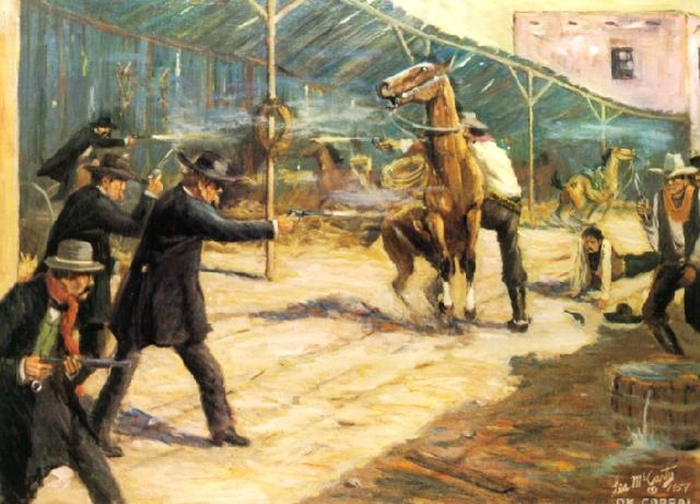 All guns blazing in the legendary gunfight between the Earp brothers and the Cowboys