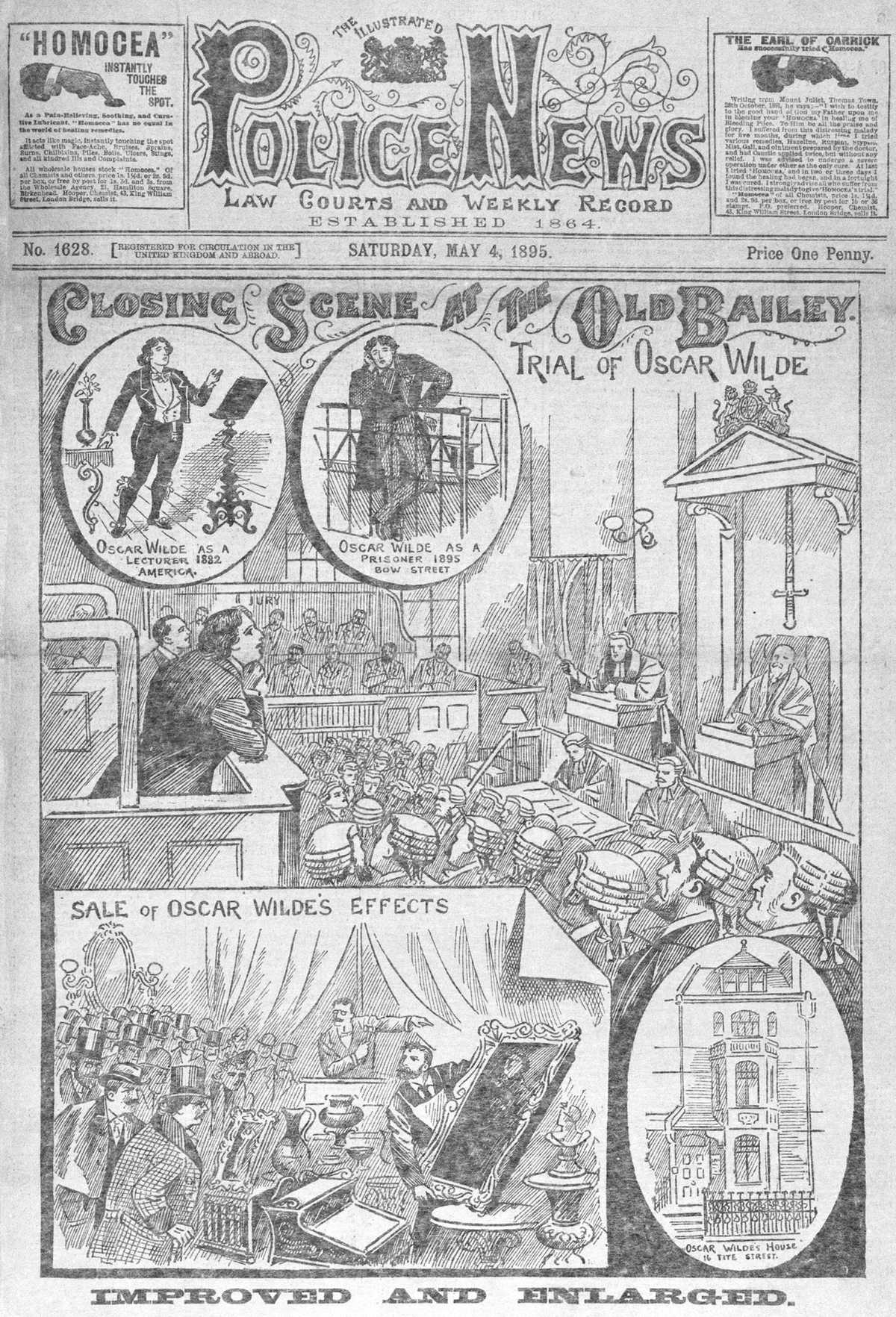 Oscar Wilde's trial as recorded in The Illustrated Police News, May 4, 1895