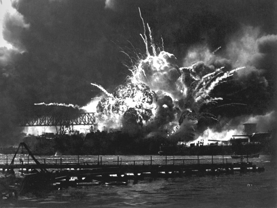 The USS Shaw explodes after taking a direct hit at Pearl Harbor. © Everett Historical/Shutterstock.com