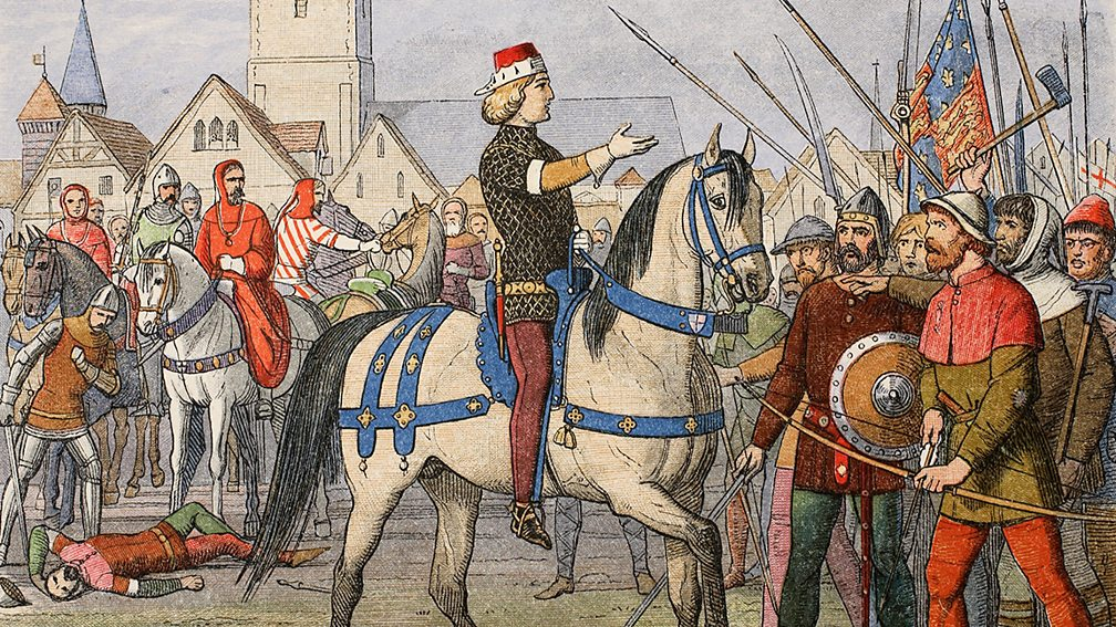 King Richard addresses the peasants. Wat Tyler lies wounded behind him. Illustration from a medieval manuscript.