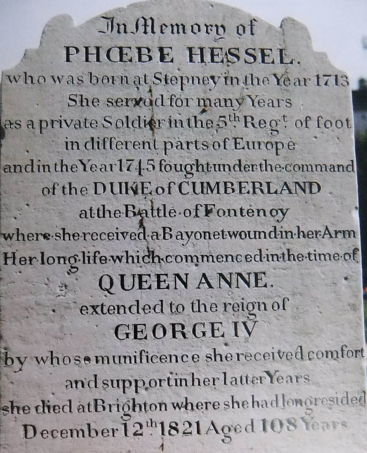 Phoebe Hessel's gravestone at Brighton, once restored by the Northumberland Fusiliers