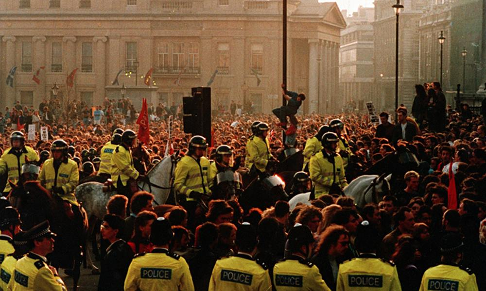 Just before the poll tax protest turned really ugly, mounted riot police moved in to Trafalgar Square