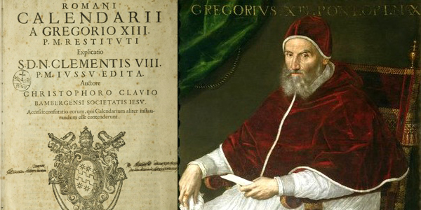 Pope Gregory XIII with the calendar that was to make his name