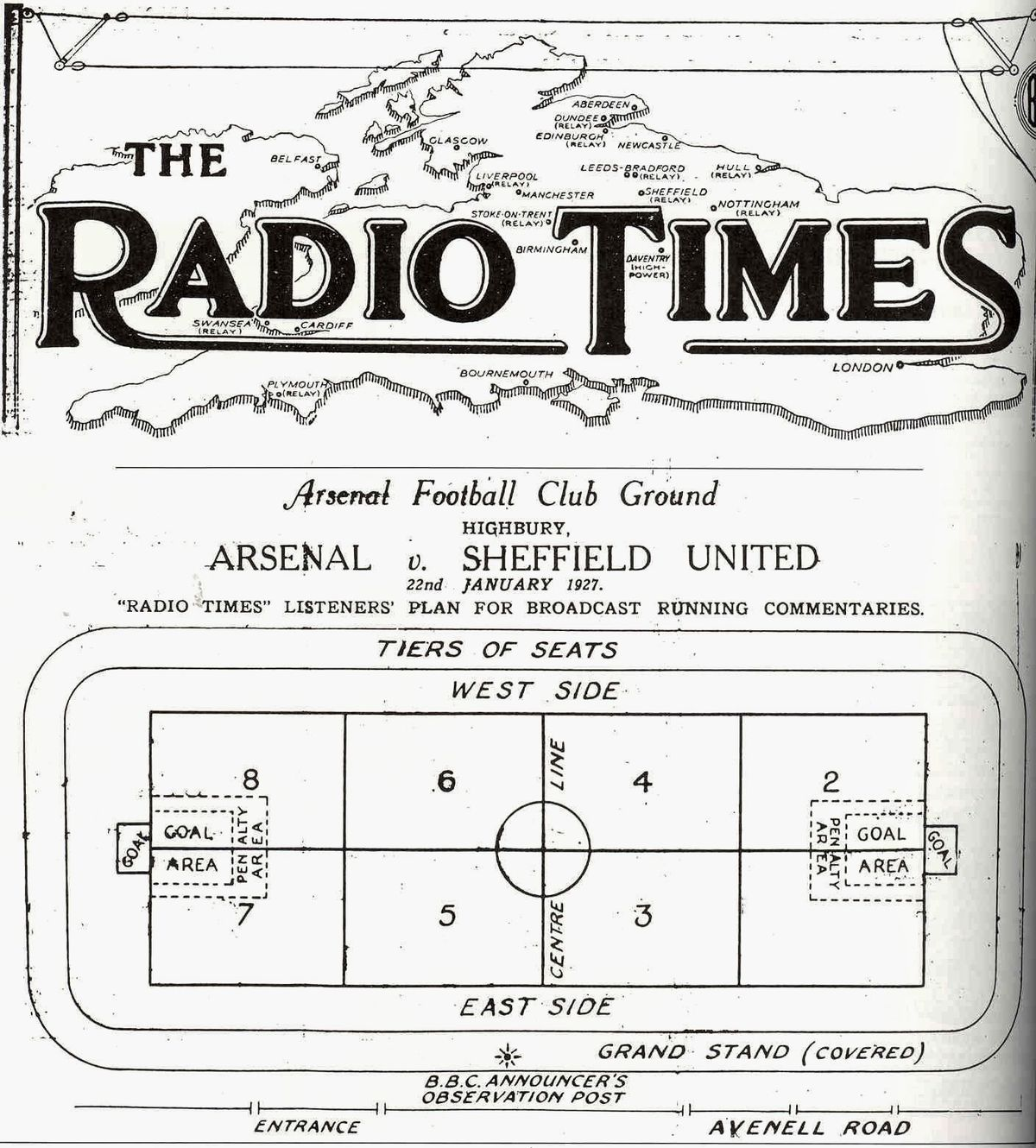 The Radio Times grid for the Arsenal v Sheffield United football match