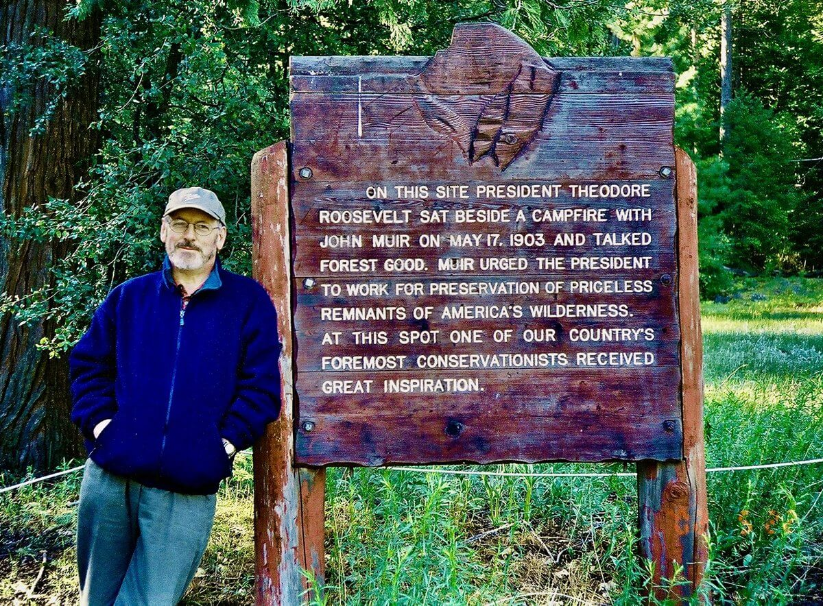 "Writer Ray Setterfield at the site in Yosemite Valley, California, where President Roosevelt and naturalist John Muir ""talked forest good"""