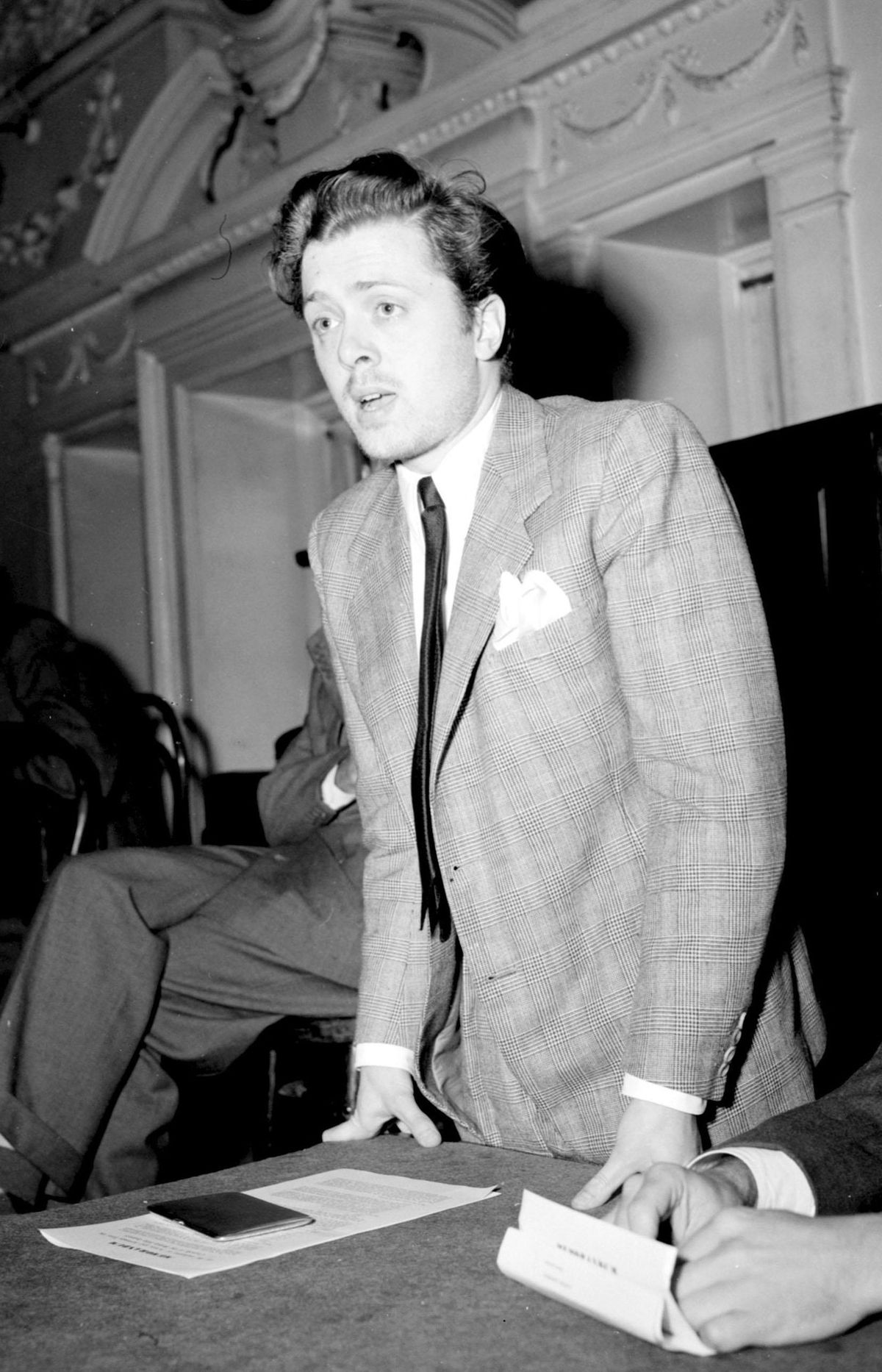 A young Richard Attenborough speaking at a meeting of Equity, the actors' union