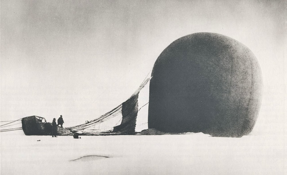 S. A. Andrée and Knut Fraenkel beside their crashed balloon in the arctic