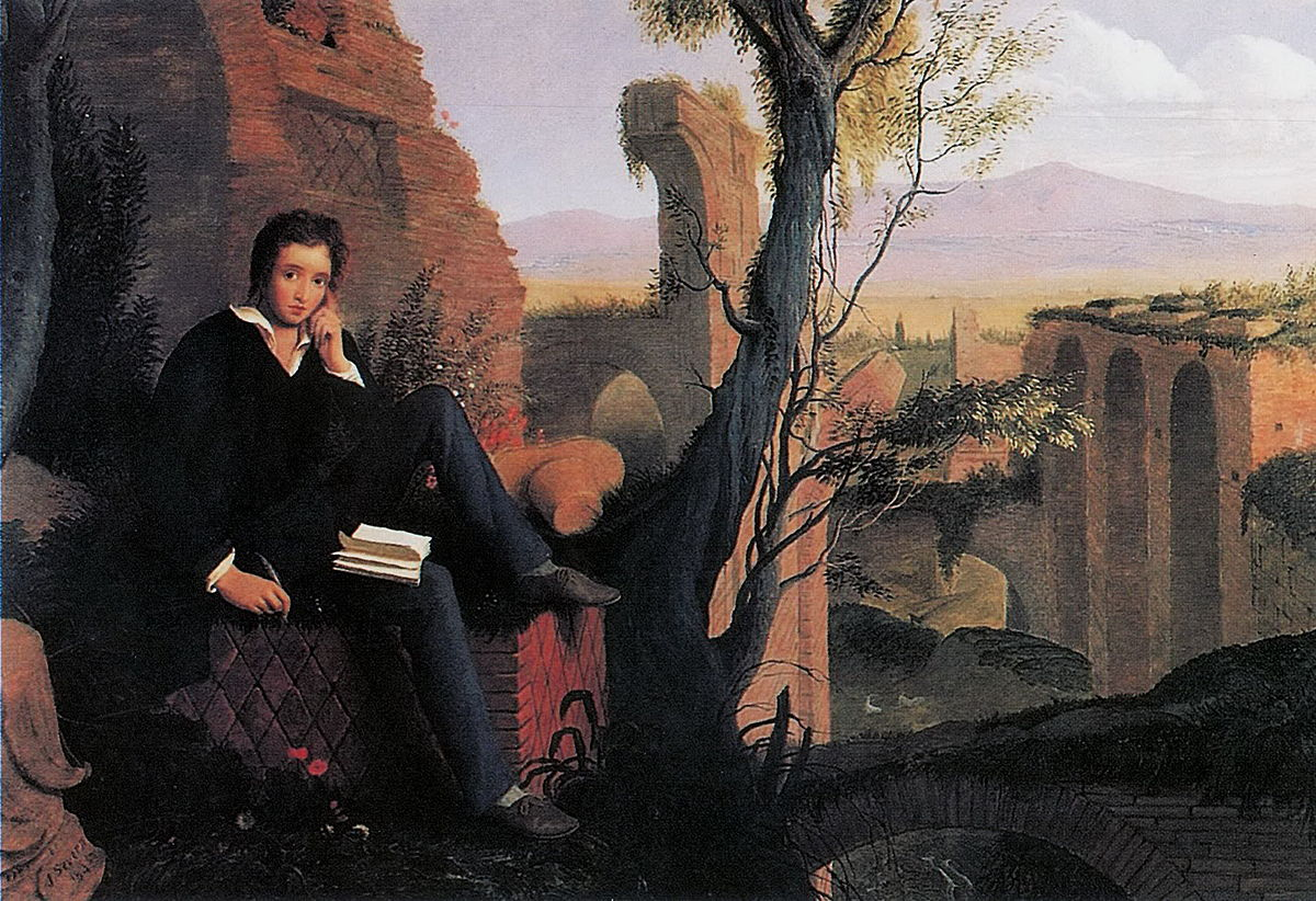 'Shelley Writing Prometheus Unbound' by the artist Joseph Severn, painted in 1845, 23 years after the poet's death