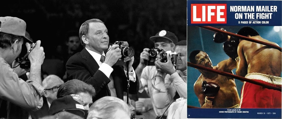 Sinatra is the focus of attention as he prepares to take his ringside shots and, right, the controversial Life magazine cover picture that the singer took